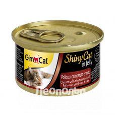 Консервы для кошек Gim Cat ShinyCat in jelly курица с креветками и солодом 70g