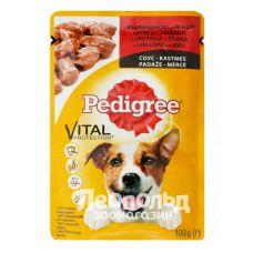 Консервы для собак Pedigree для взрослых, с говядиной и ягненком в соусе 100g